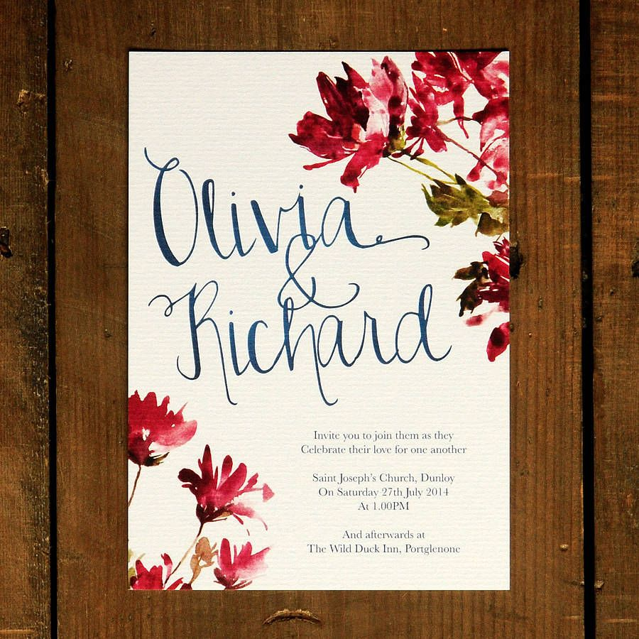 Watercolour Floral And Calligraphy Wedding Invitation | Watercolor ...
