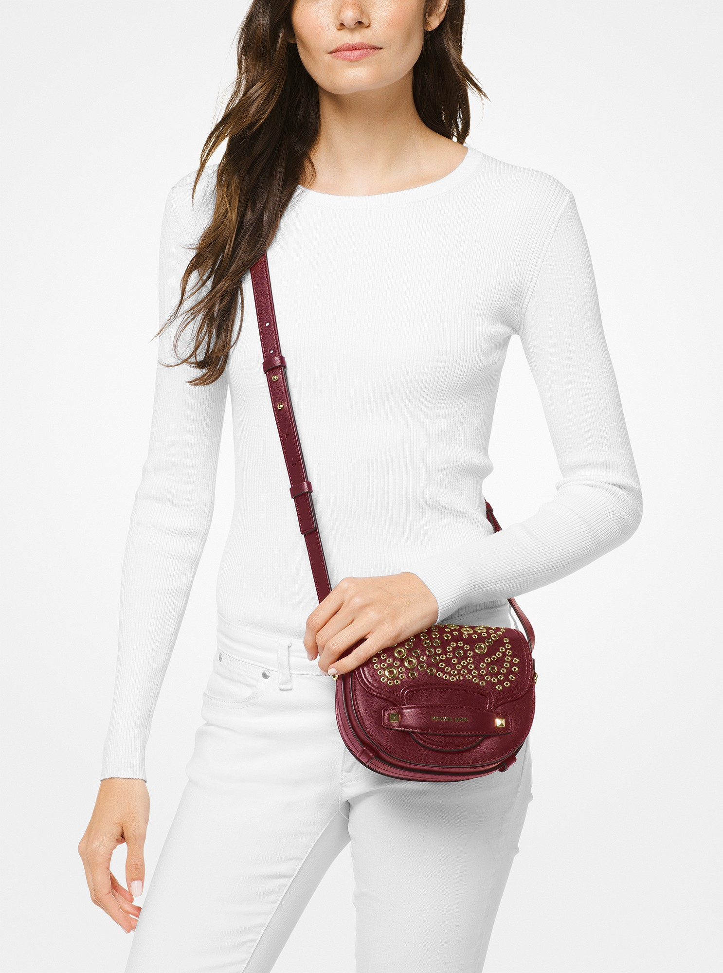 9c6c2a956237 Michael Kors Cary Small Grommeted Leather Saddle Bag - Oxblood ...