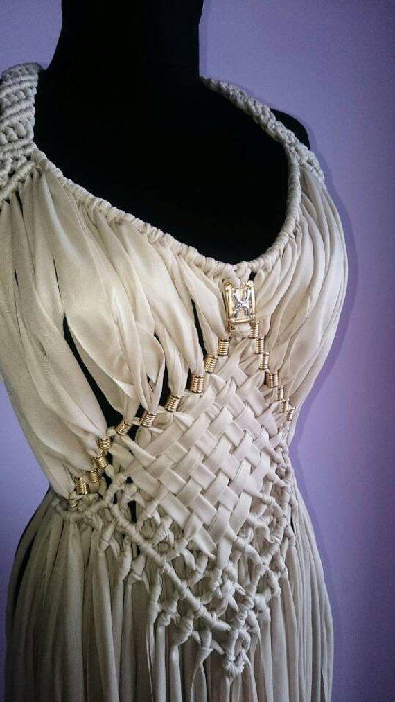 White Gringe Dress Boho Party Clothing Ajustable and Customizable Express Shipping