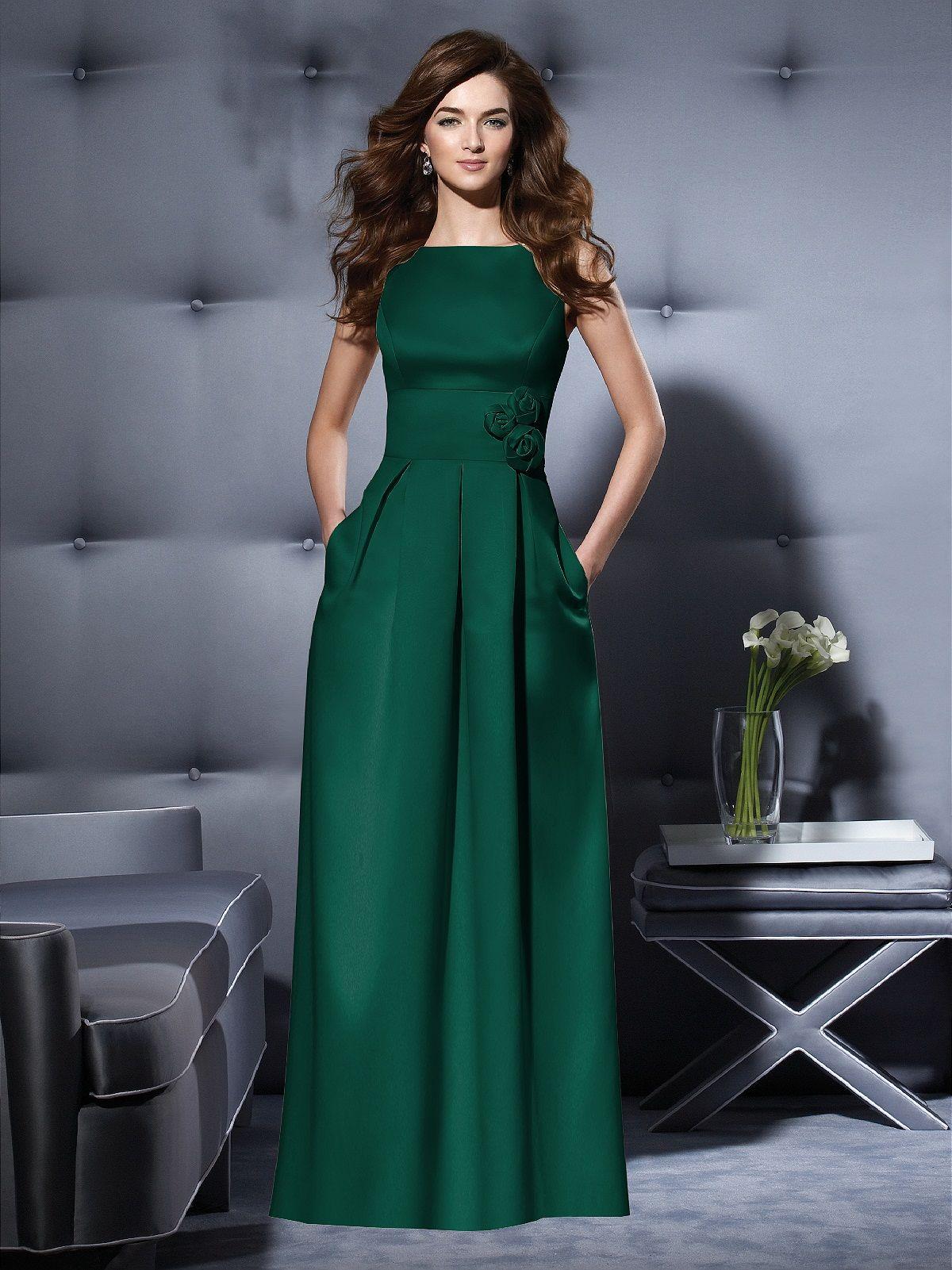 Duchess satin hunter hunter green bridesmaid dress
