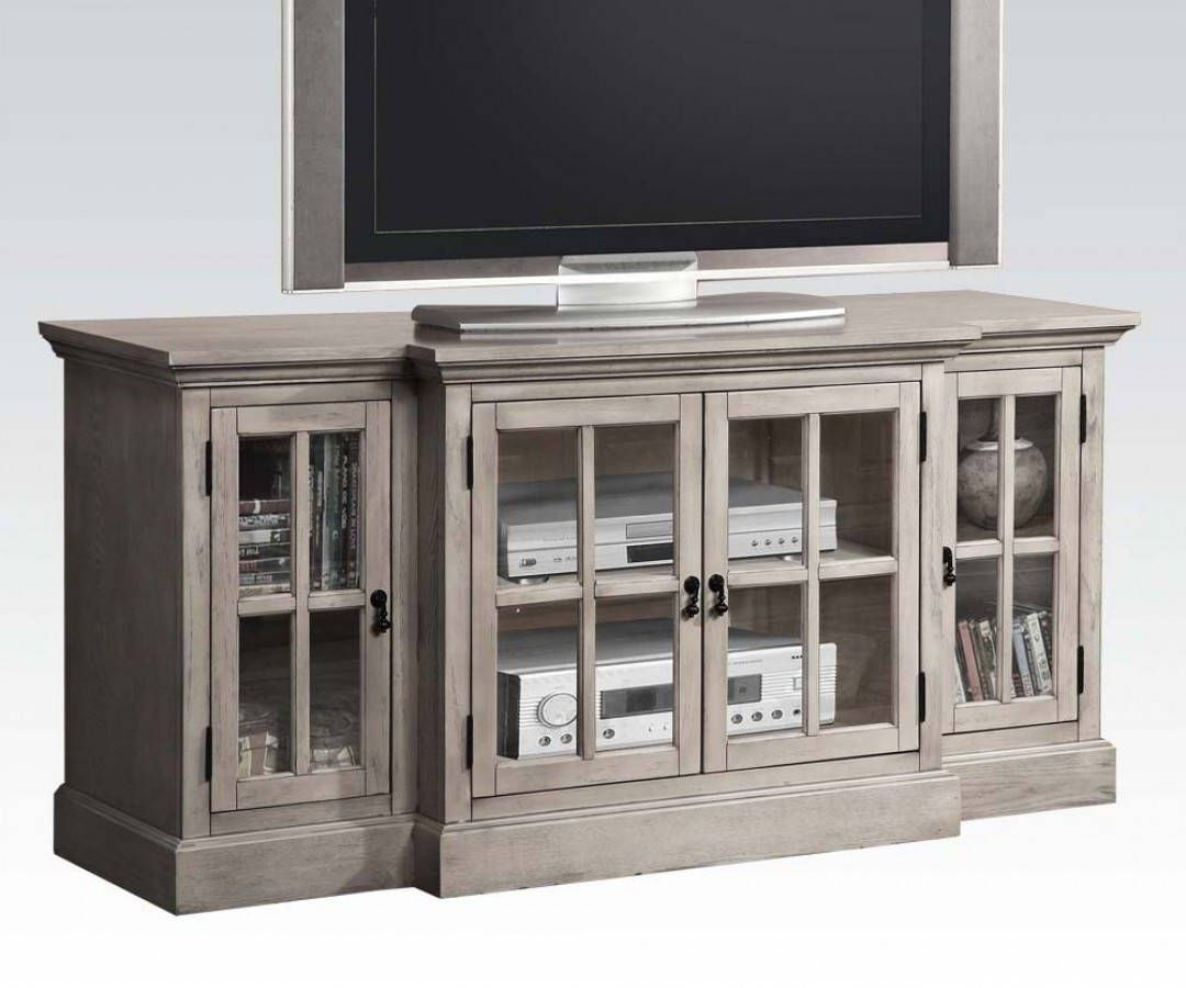 Tv television stands austin s furniture - Julian Gray Wood Tv Stand W 4 Glass Doors