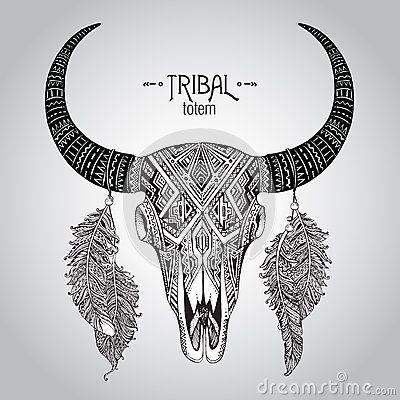 Вручите вычерченную иллюстрацию вектора черепа быка с пер