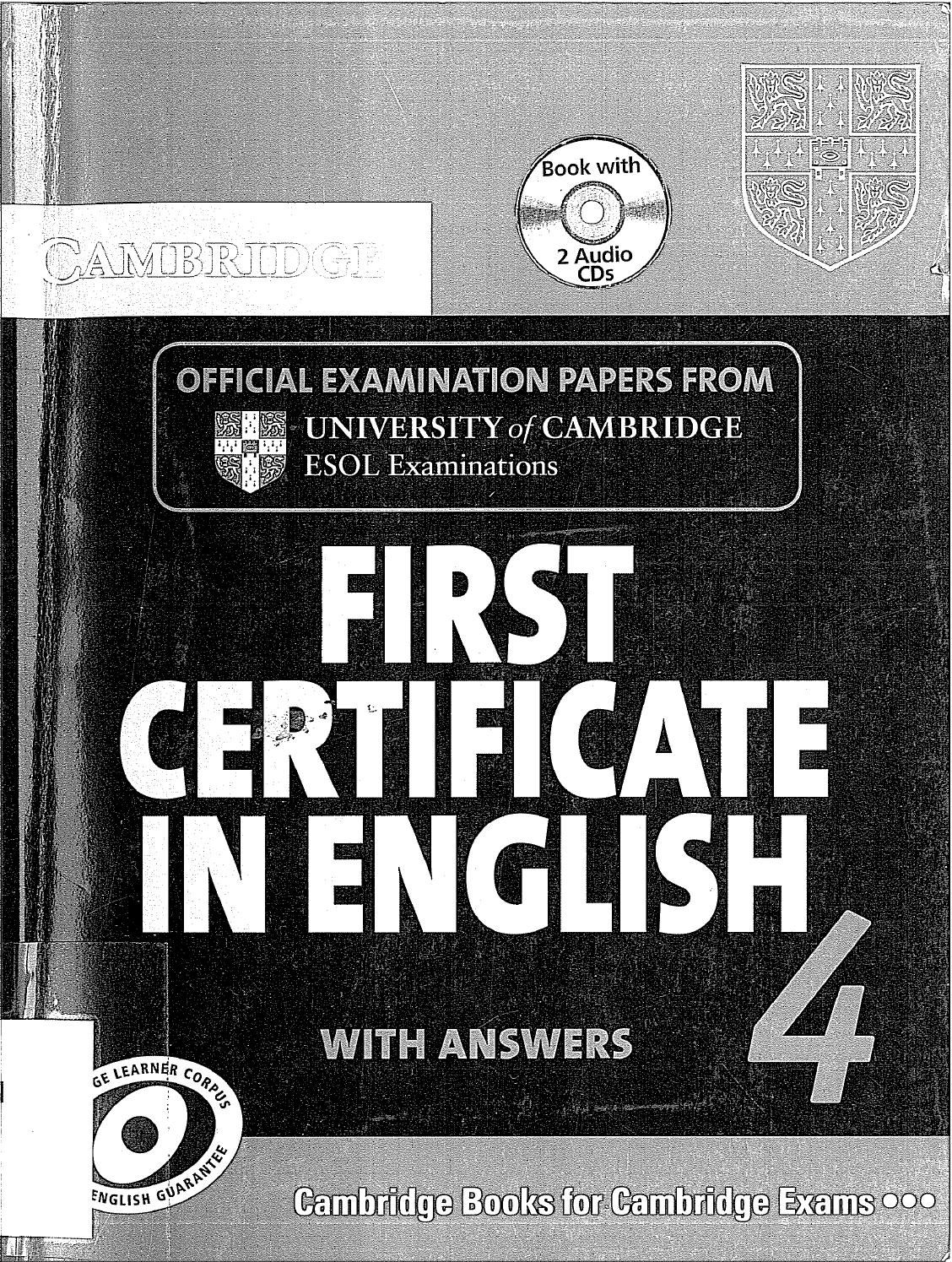 First Certificate Libros Cambridge First Certificate In English 4 For Updated Exam