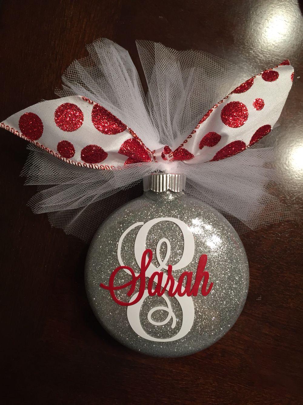 Monogram Glitter Christmas Ornament Pledge Floor Polish Extra Fine Glitter Vinyl Monogram Tul Christmas Ornaments Glitter Christmas Diy Christmas Ornaments