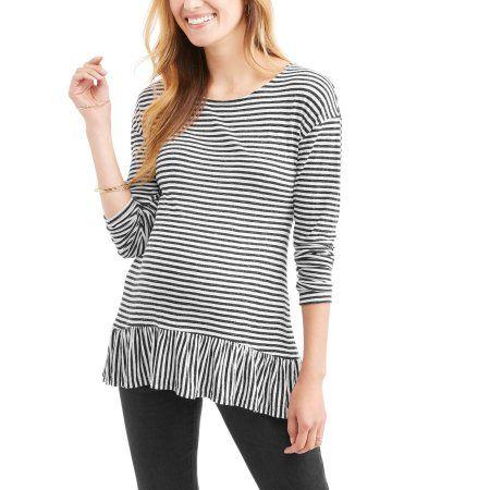 Faded Glory Maternity Long Sleeve Striped Peplum Top, Women\'s, Size ...