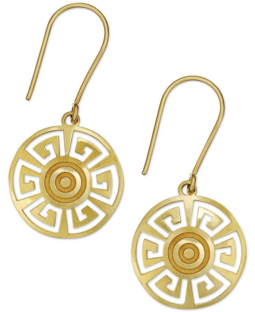 For the goddess in you these disc drop earrings are embossed with greek key disc drop earrings in gold earrings jewelry watches macys biocorpaavc