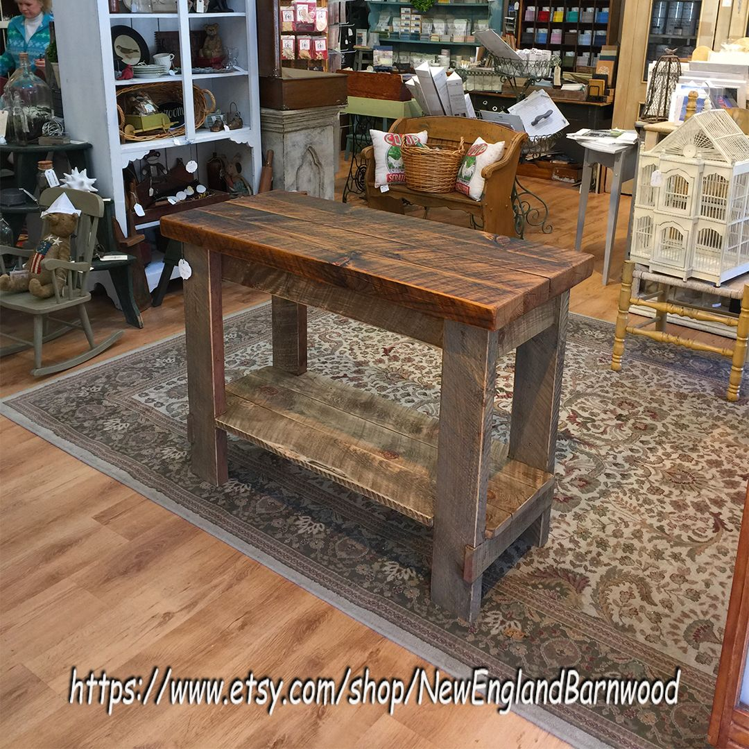 This One Of A Kind Kitchen Island Made From Rough Sawn Wood Knotty Surfaces And Reclaimed Materi Rustic Kitchen Farmhouse Kitchen Island Rustic Kitchen Island