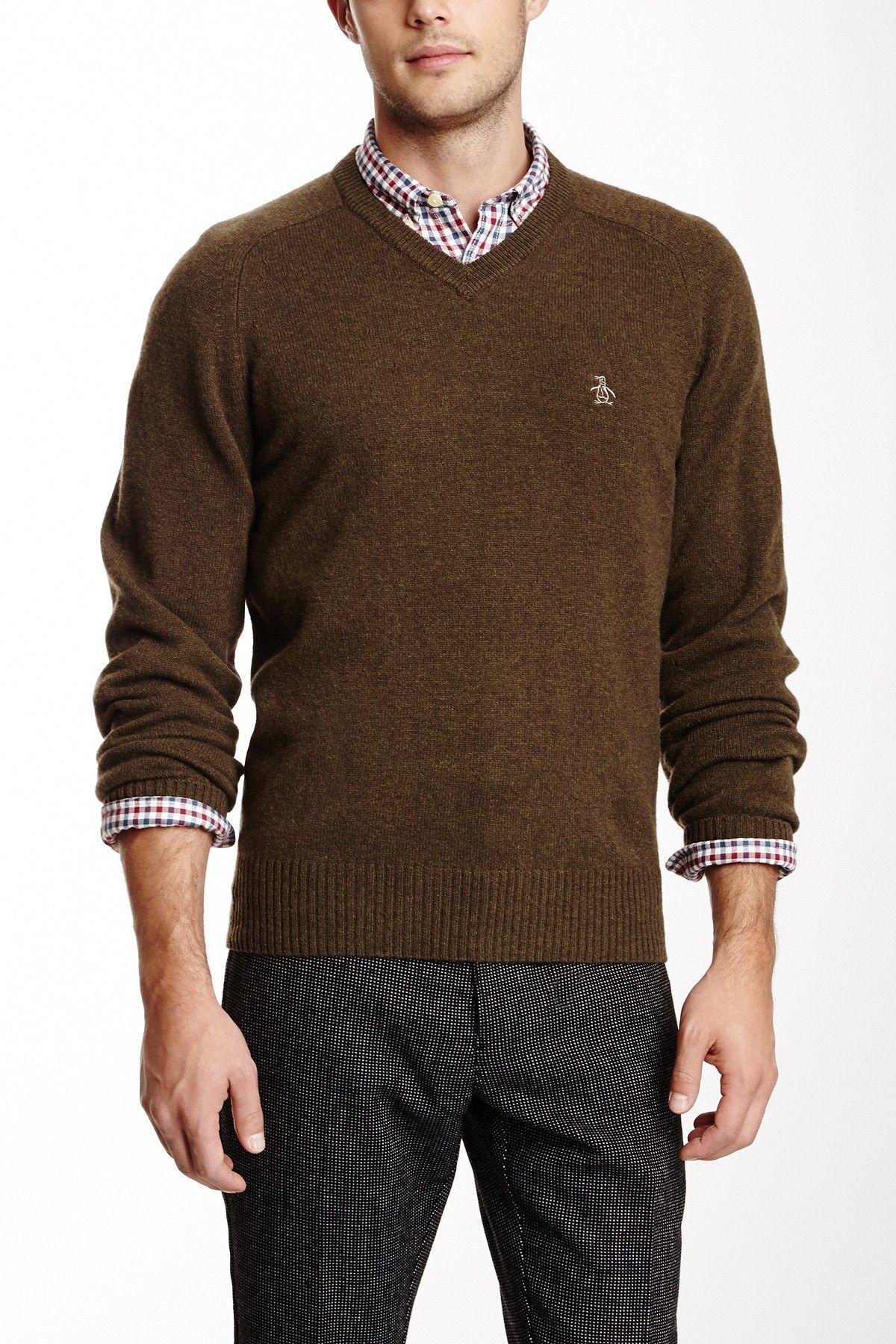 Original Penguin Hector V-Neck Long Sleeve Lambwool Sweater on HauteLook