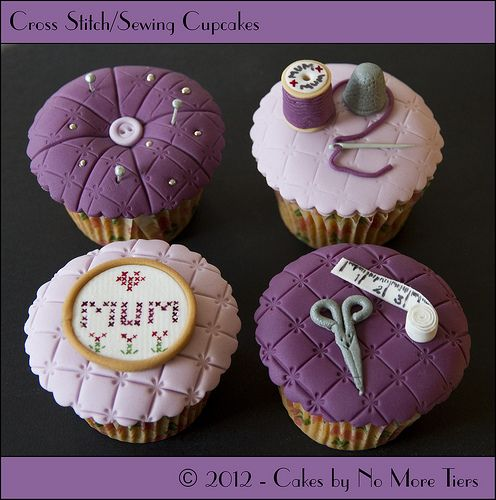 Cross stitch / sewing themed cupcake set