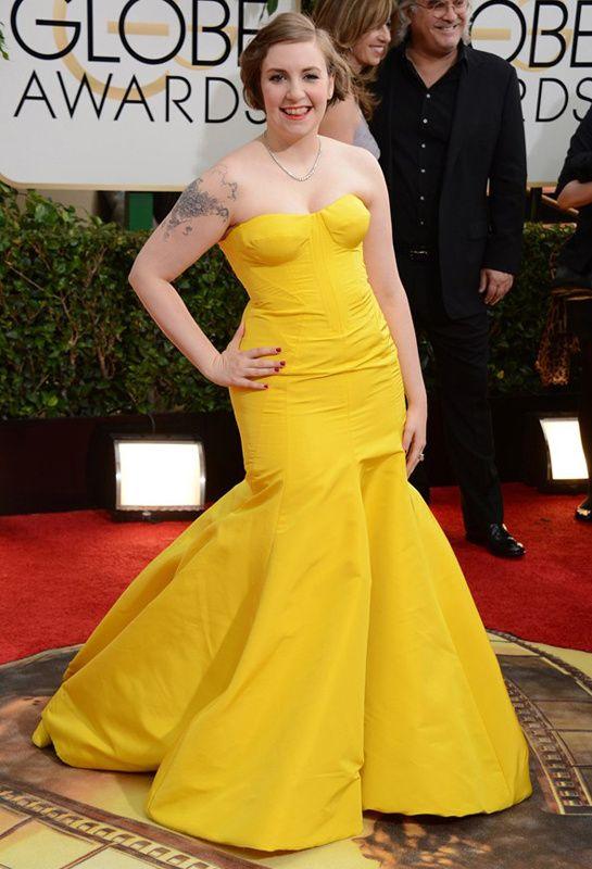 Lena Dunham veste Zac Posen no Globo de Ouro 2014 (12/01/14)