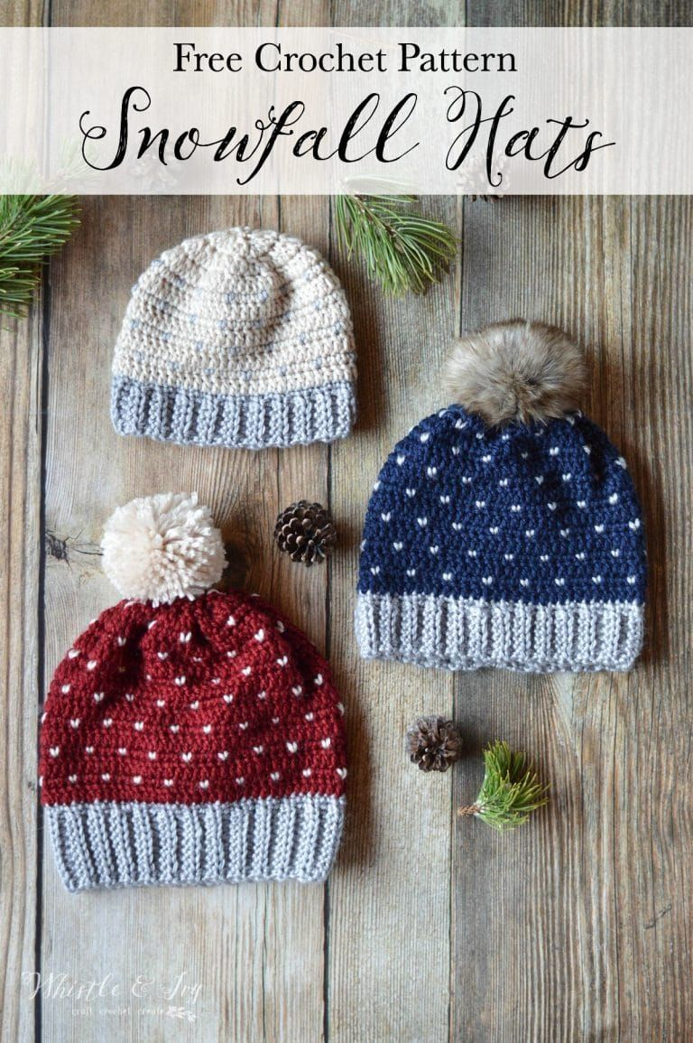 Crochet Snowfall Hat - Size Baby to Adult - Free Crochet Pattern ... 2f98dc255df