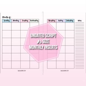 Free Undated Month on Two Pages Planner Inserts | Planner ...