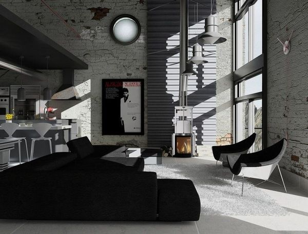 Black And Gray Living Room Furniture Ideas Low Sofa Shaggy Carpet Brick Wall