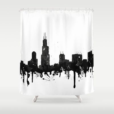 Watercolor Chicago Skyline Shower Curtain By Trinity Bennett
