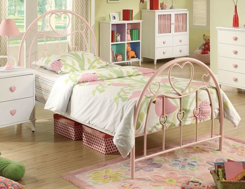 Powder Pink Heart Motif Twin Size Platform Bed 400571t Bed