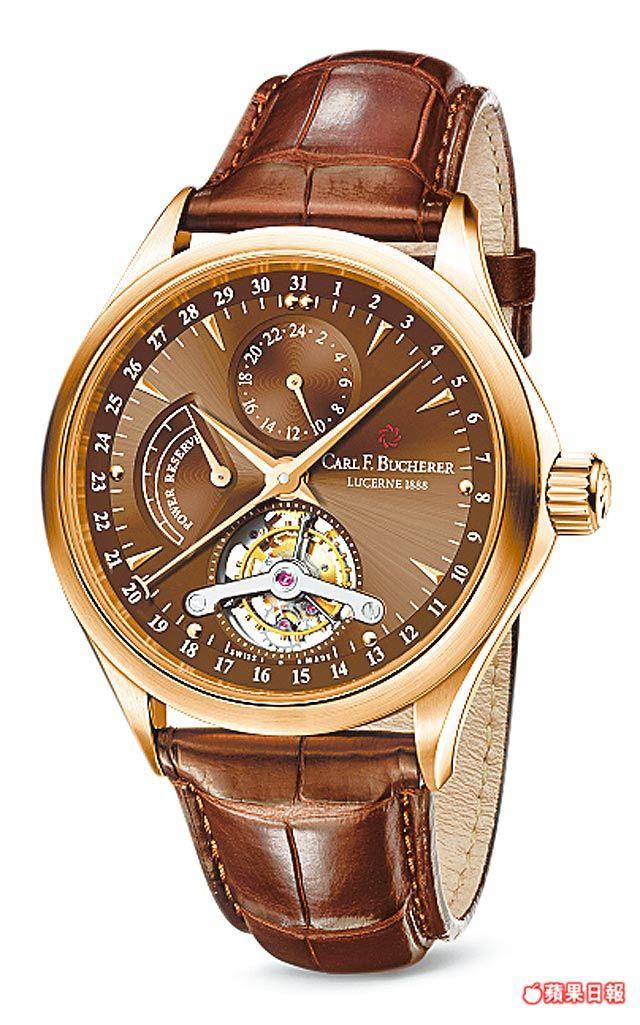 寶齊萊ManeroTourbillon陀飛輪新推出咖啡色面盤的2015限量錶。348萬6000元