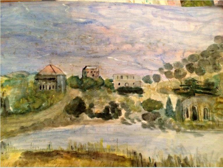 الحياة القروية القديمة في جنوب لبنان من لوحات جوليا جابر Old And Traditional Live In South Lebanon Julia Jaber Painting Art