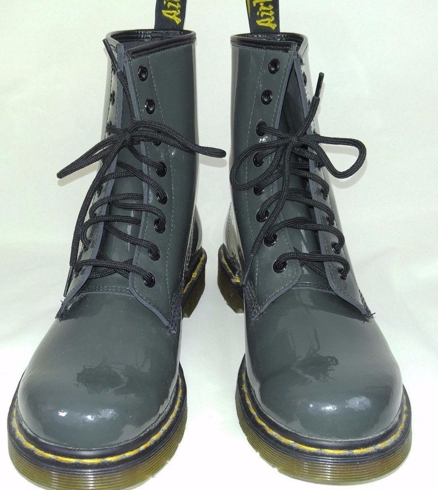 NEW Doc Martens Dark Gray PATENT LEATHER Air Walkers Boots