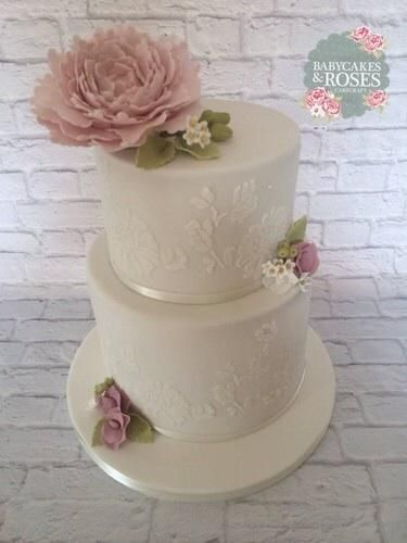 Lace Stencilled & Peony Cake - Cake by Babycakes & Roses Cakecraft