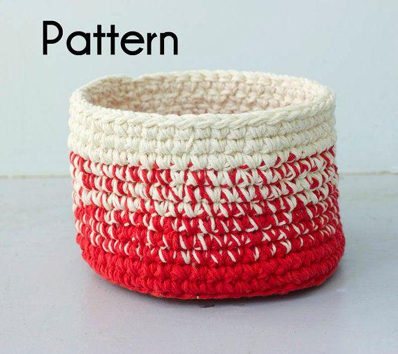 Ombre Basket Crochet Pattern PDF, Digital Download,  Home Decor Basket, Storage Basket Pattern,