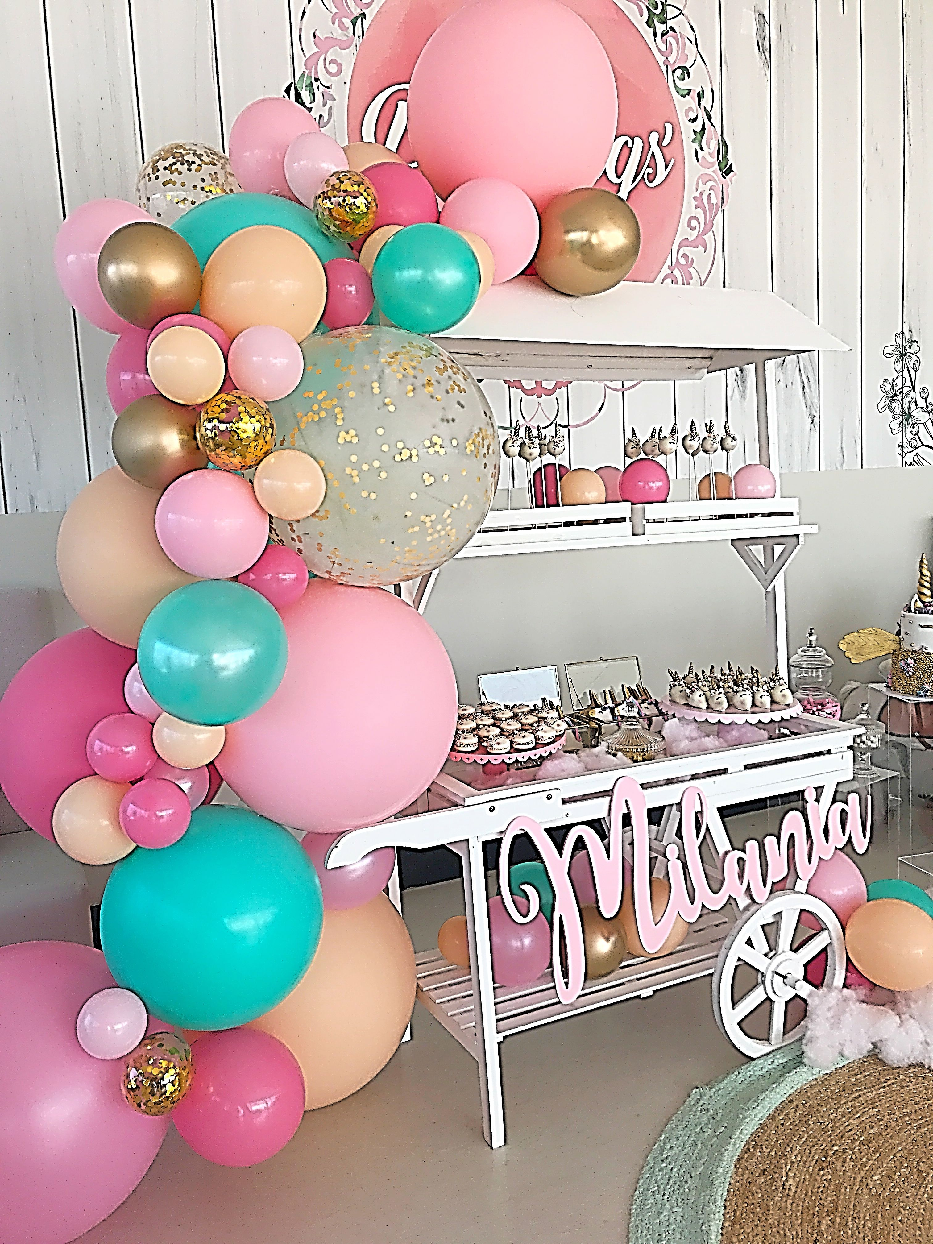 Unicorn Party Balloon Garland And Sweet Cart Stylish Soirees Perth Party Balloons Unicorn Party Balloons Unicorn Party
