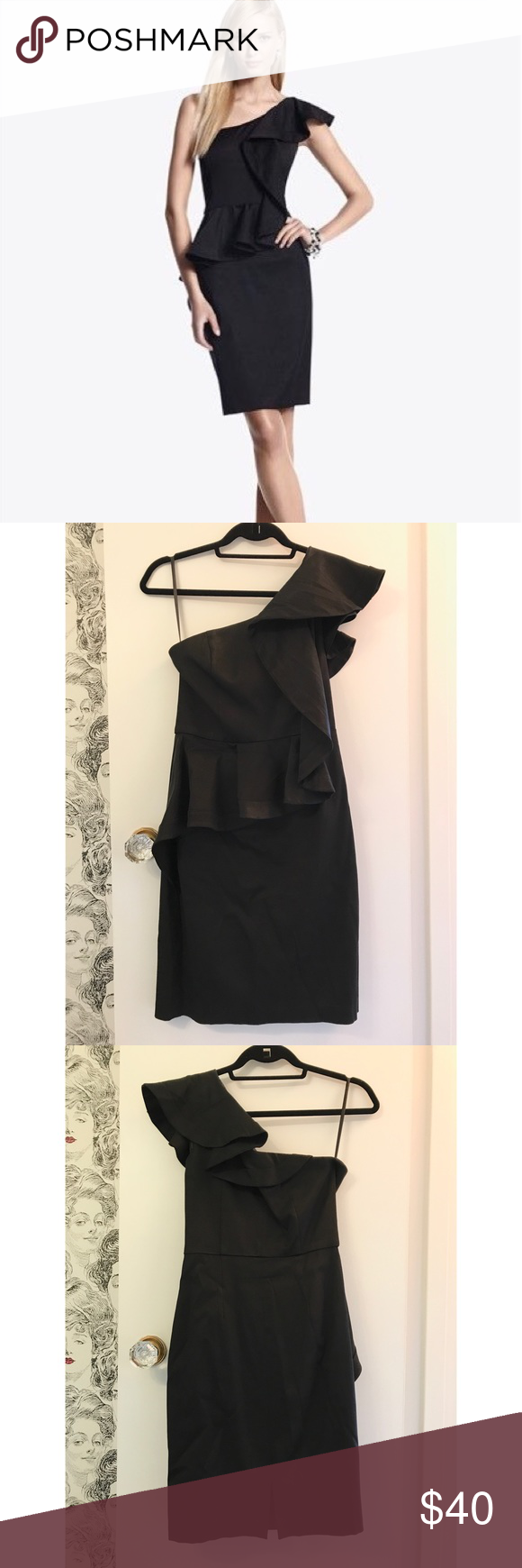 White house black market one shoulder ruffle dress