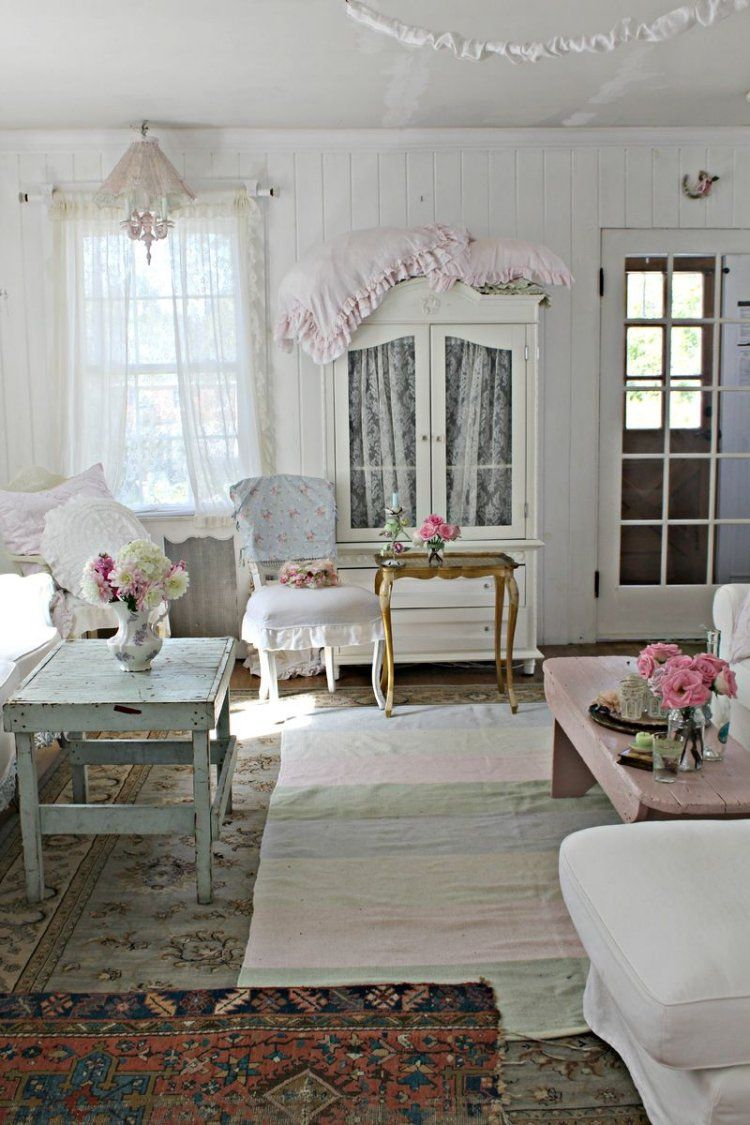 d co et meubles shabby chic dans le salon 55 id es vintage shabby living rooms and room. Black Bedroom Furniture Sets. Home Design Ideas