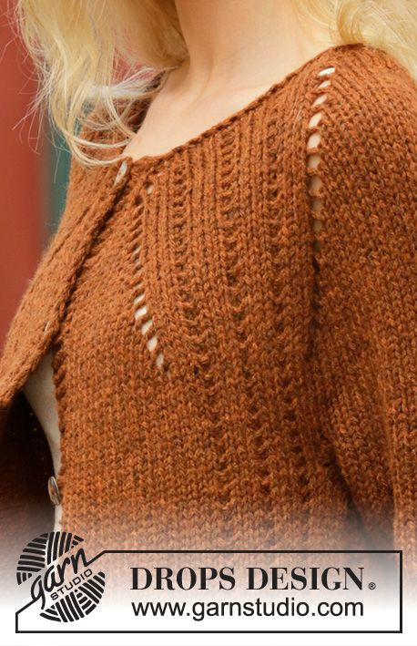 b7ed298e63d6 Autumn Spice Cardigan   DROPS 202-14 - Free knitting patterns by DROPS  Design