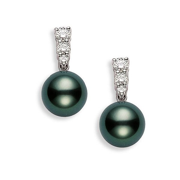 Women's Mikimoto 'Morning Dew' Black South Sea Cultured Pearl &... (16.260 RON) ❤ liked on Polyvore featuring jewelry, earrings, accessories, pearl, diamond, white gold, freshwater pearl earrings, handcrafted jewellery, cultured pearl jewelry and diamond earring jewelry