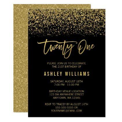 Modern Black Gold Faux Glitter 21st Birthday Invitation Zazzle Com 21st Birthday Invitations 21st Birthday Birthday Invitations