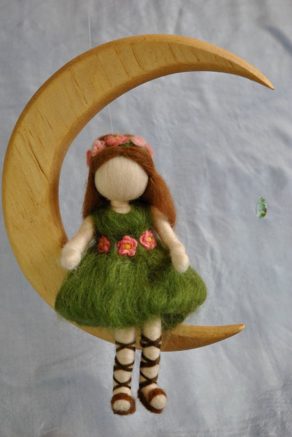 Waldorf inspired needle felted doll mobile: The green fairy in the Moon. $65.00, via Etsy.