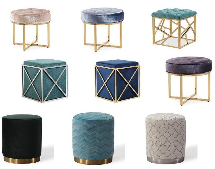 Beautiful Luxurious Velvet Footstools In Amazing Colors And Styles