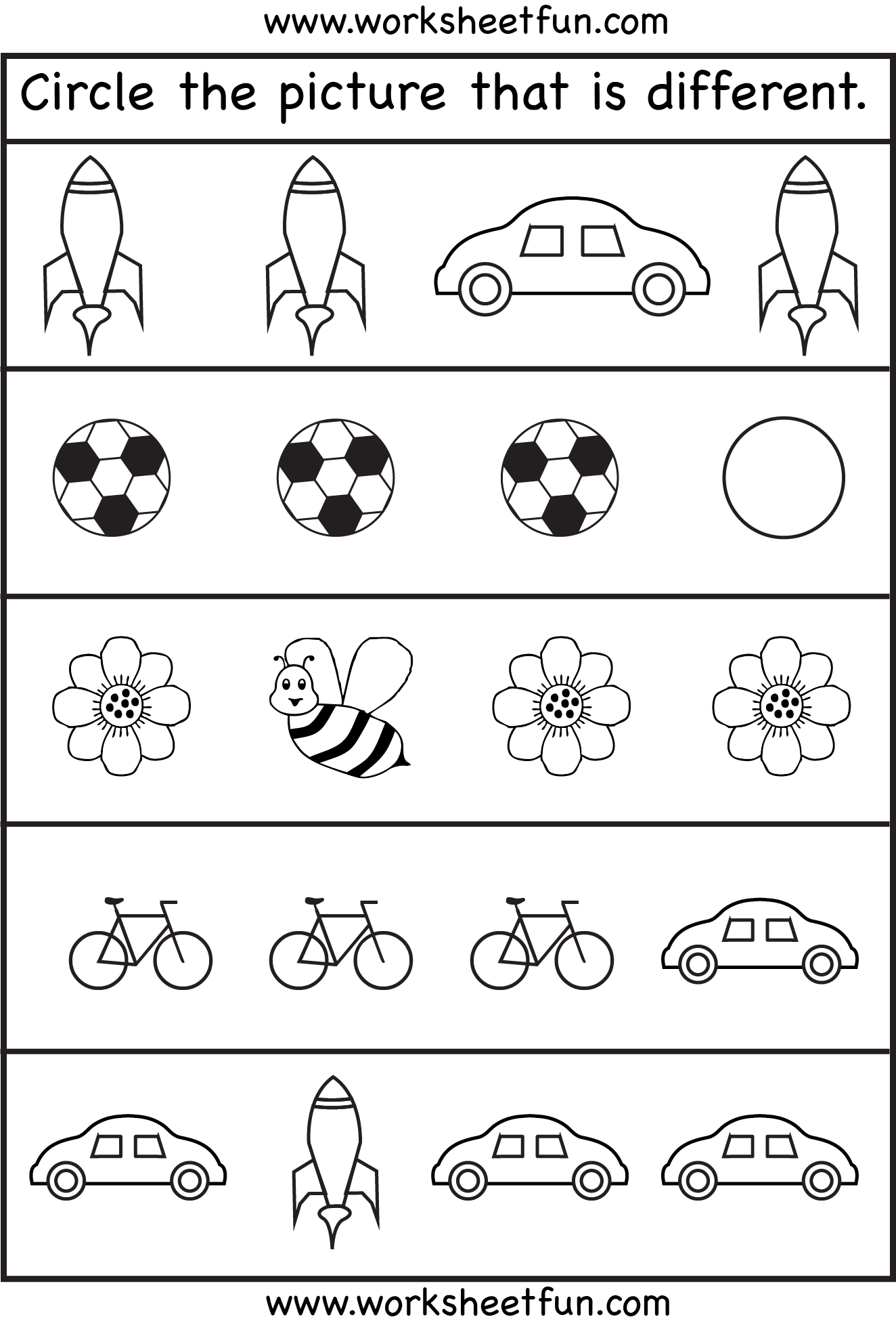 Circle the picture that is different.and other concepts (shapes, math,  etc)- FREE Printable Preschool and Kindergarten Worksheets