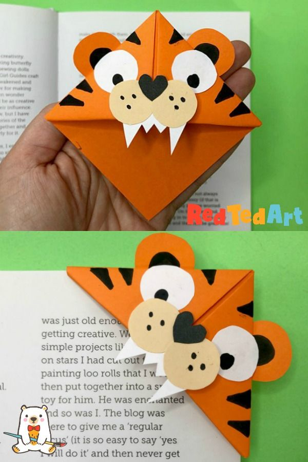 Make Your Own Tiger Bookmark Corner - Red Ted Art