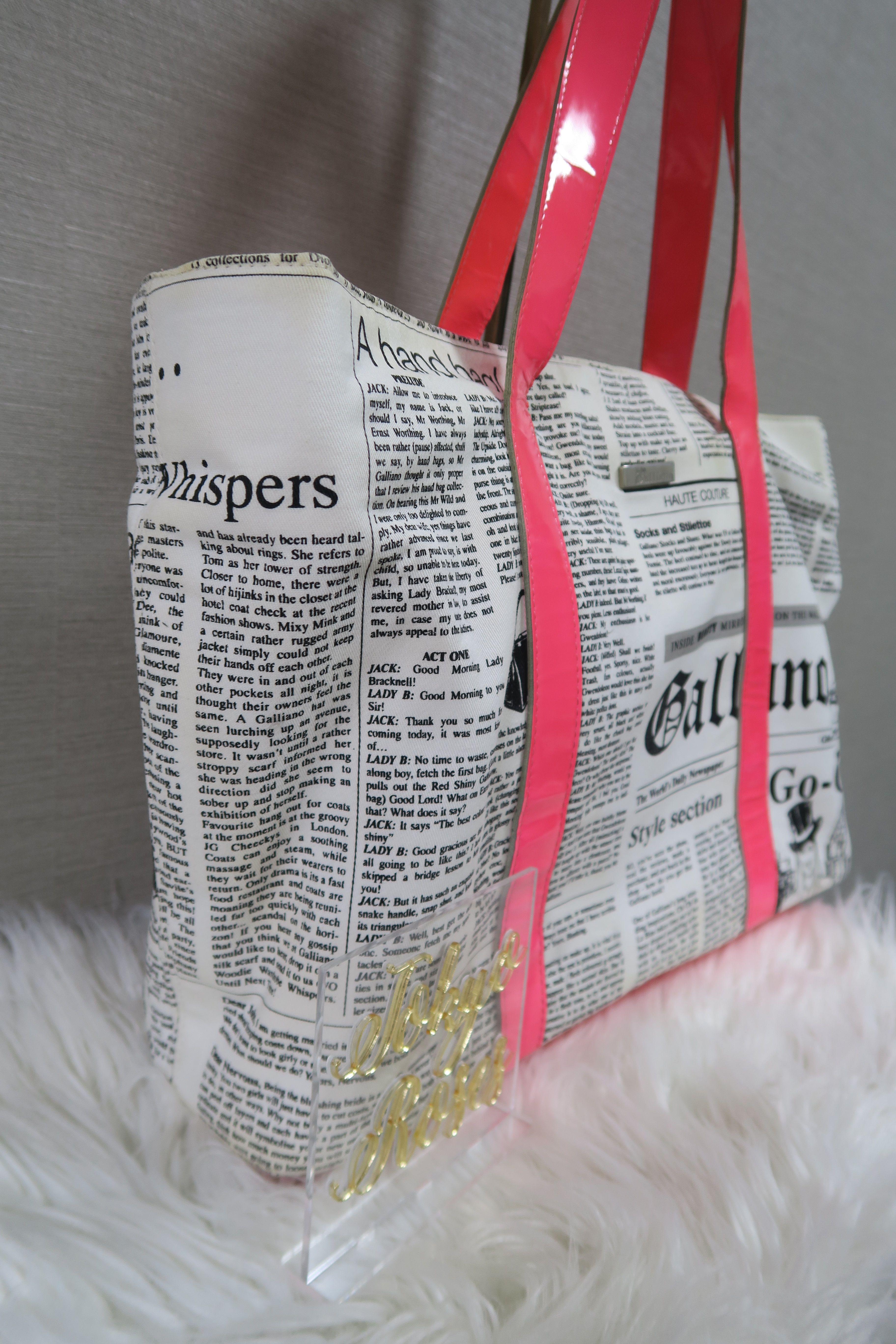 b87ab1a4e0836 John Galliano Newspaper Print Gazette Handbag Neon Pink в 2019 г ...