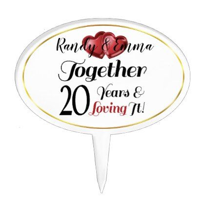 20th Anniversary Retro Hearts Together Loving It Cake Topper | Zazzle.com #20thanniversarywedding