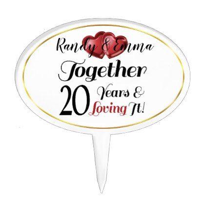 20th Anniversary Retro Hearts Together Loving It Cake Topper | Zazzle.com #20thanniversarywedding