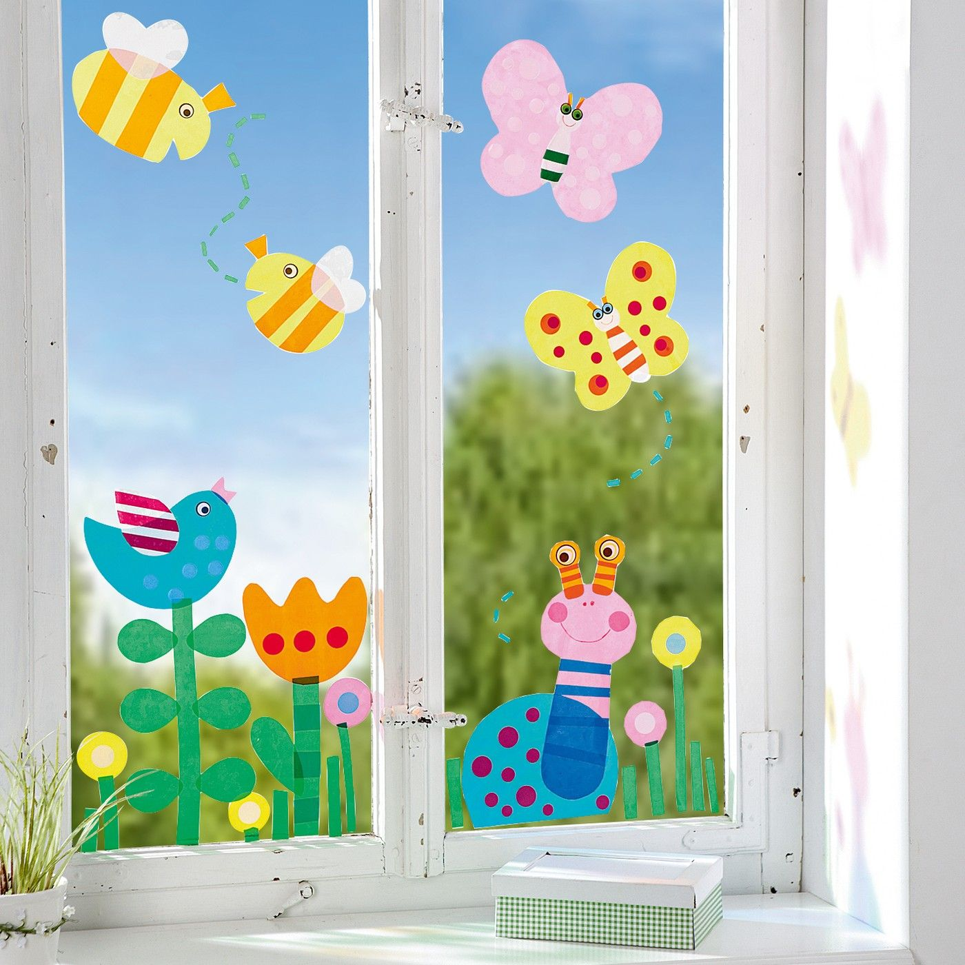 Bastelideen Frühling Fenster Fensterfolie Frühling Jako O Kid Crafts Hand And Foot Spring