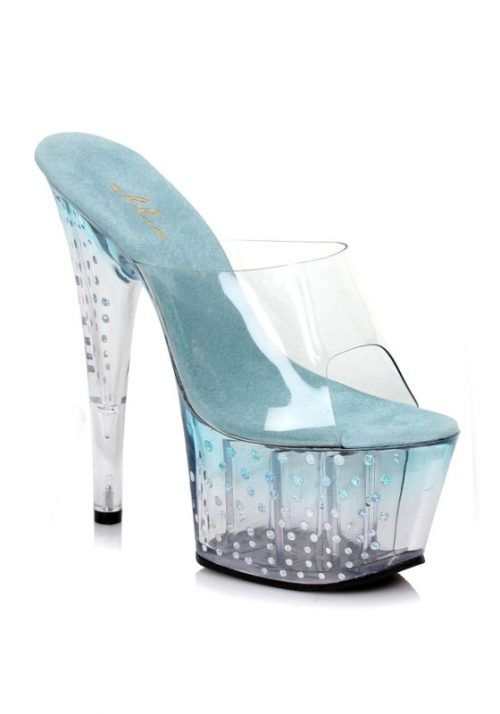 Pleaser Jade Blue 7 Inch Mule With Glitter Dots SKU: ES709-JADE