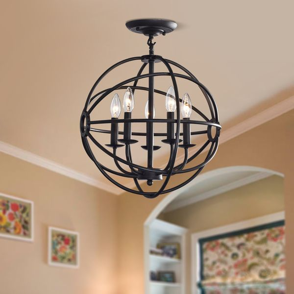 This stunning cage chandelier offers five lights in an iron setting. An  antique black finish completes the look. Chain: None Setting: Indoor  Fixture finish: ... - Exactly What I'm Looking For --Benita Antique Black 5-light Iron