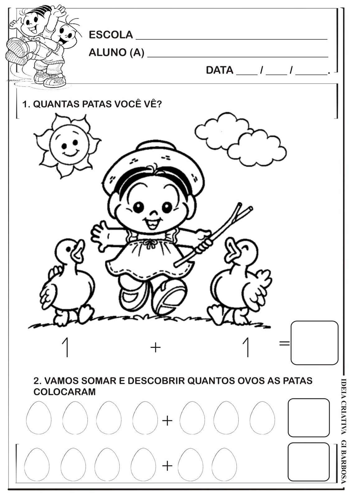 Amado Matemática Infantil: Atividade Adição Turma da Mônica | ATIVIDADES  OH58