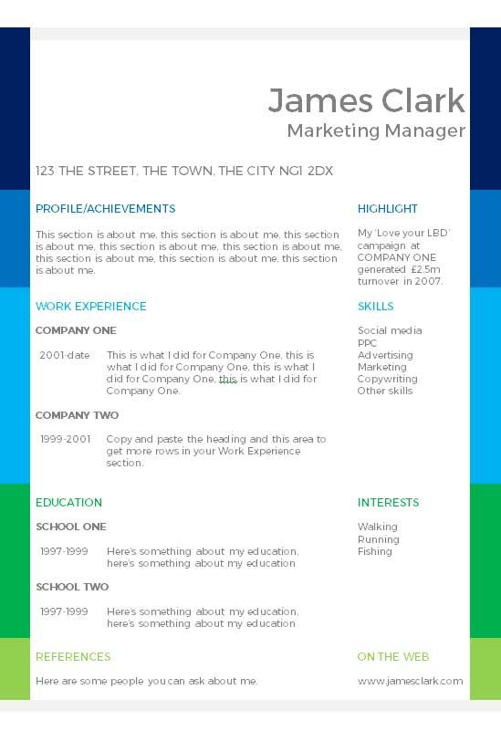 Colour Blocks Cv Template  How To Write A Cv  Cv Template Master