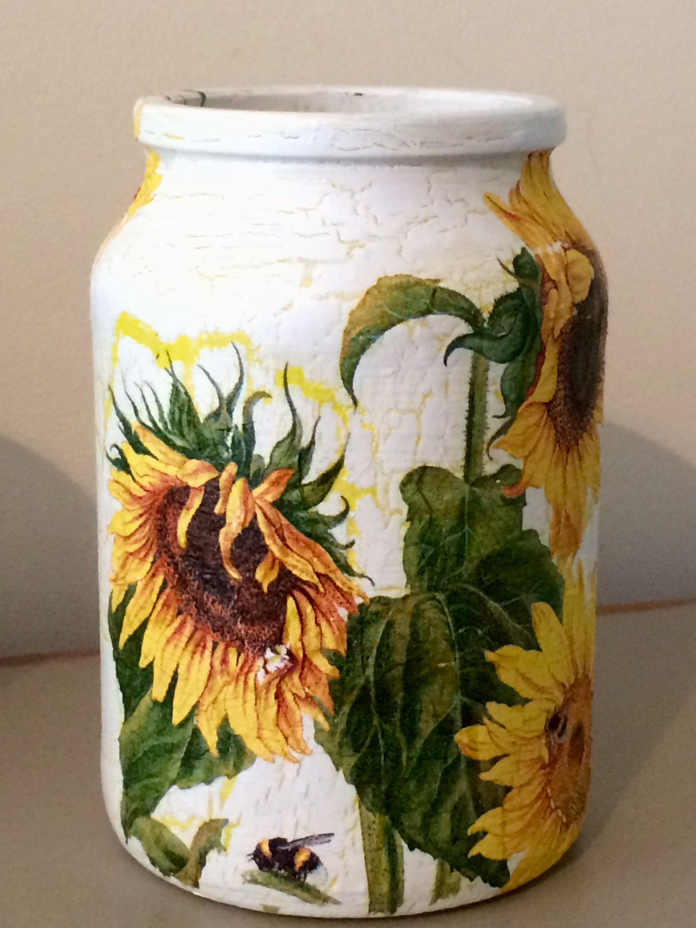 Sunflowers Decoupage Decorative Handy Jar Desk Tidy