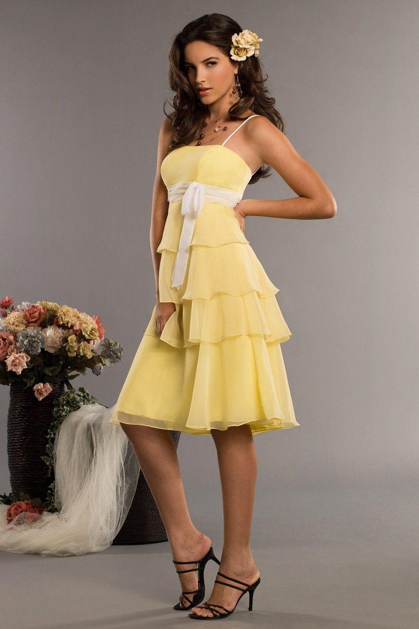 Yellow dress knee length  Chiffon Empire Kneelength Wedding Party  Bridesmaid Dress with