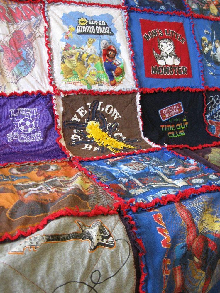 Custom keepsake tshirt memory rag quilt with flannel back
