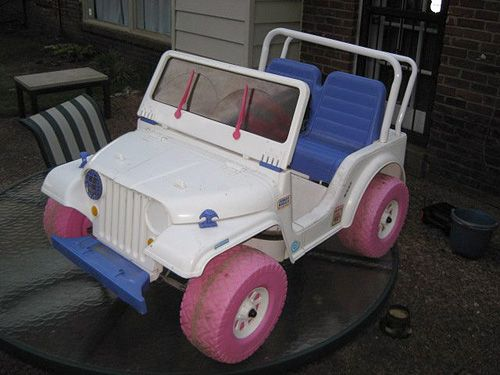 Power Wheels Barbie Jeep This Is The One I Had As A Kid Need To Replicate It In An Actual Jeep Childhood Toys Toy Car My Childhood Memories