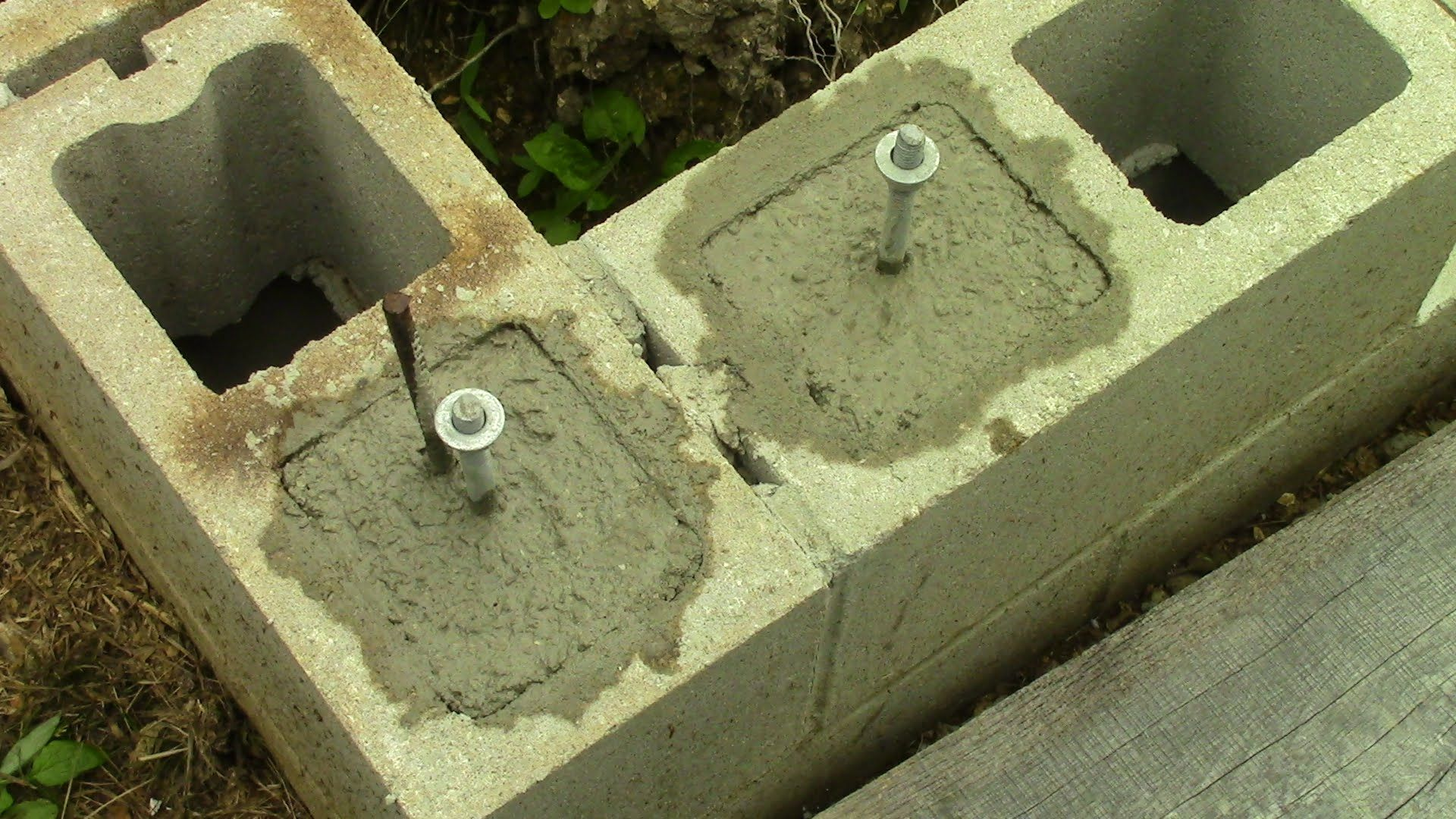 Filling Concrete Block Cores And Installing J Bolts Building A Shed Shed Concrete Blocks
