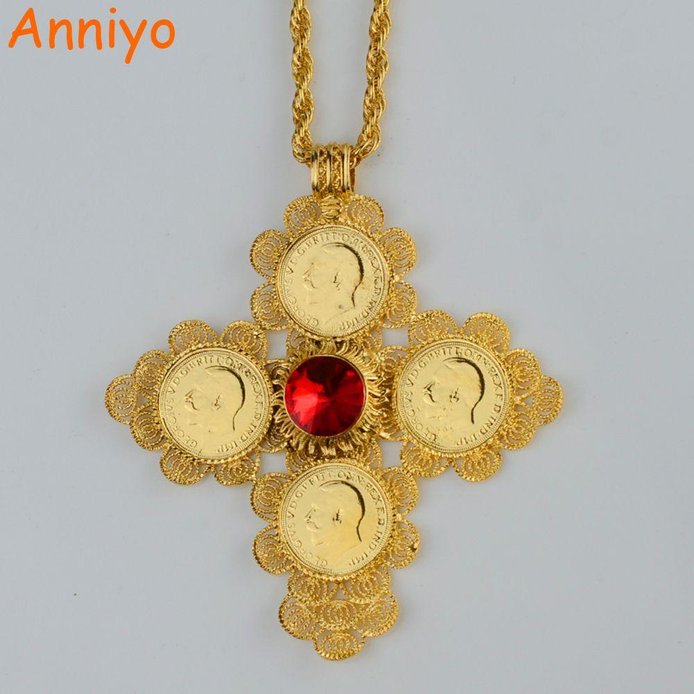 9edb61741c2ed Anniyo Ethiopian Big Cross Pendants Necklaces Women/Men Gold Color ...