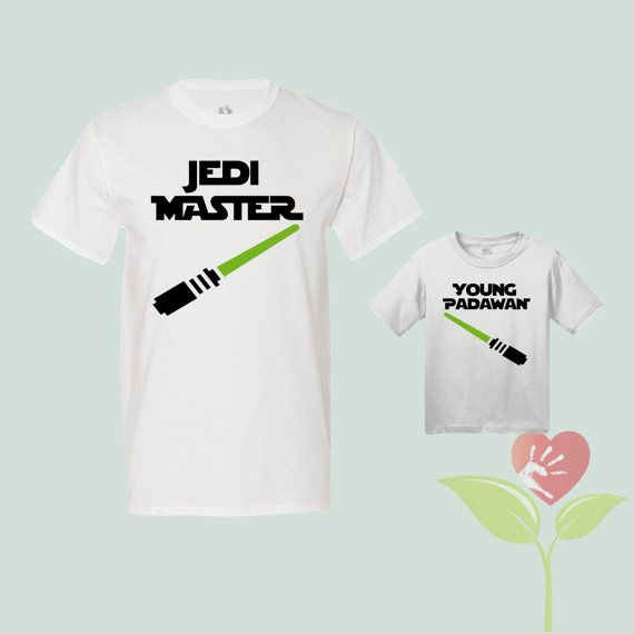 Jedi Master and Young Padawan - Parent and Child Duo Shirts - Stormtrooper - Jedi - Lightsaber - Cool
