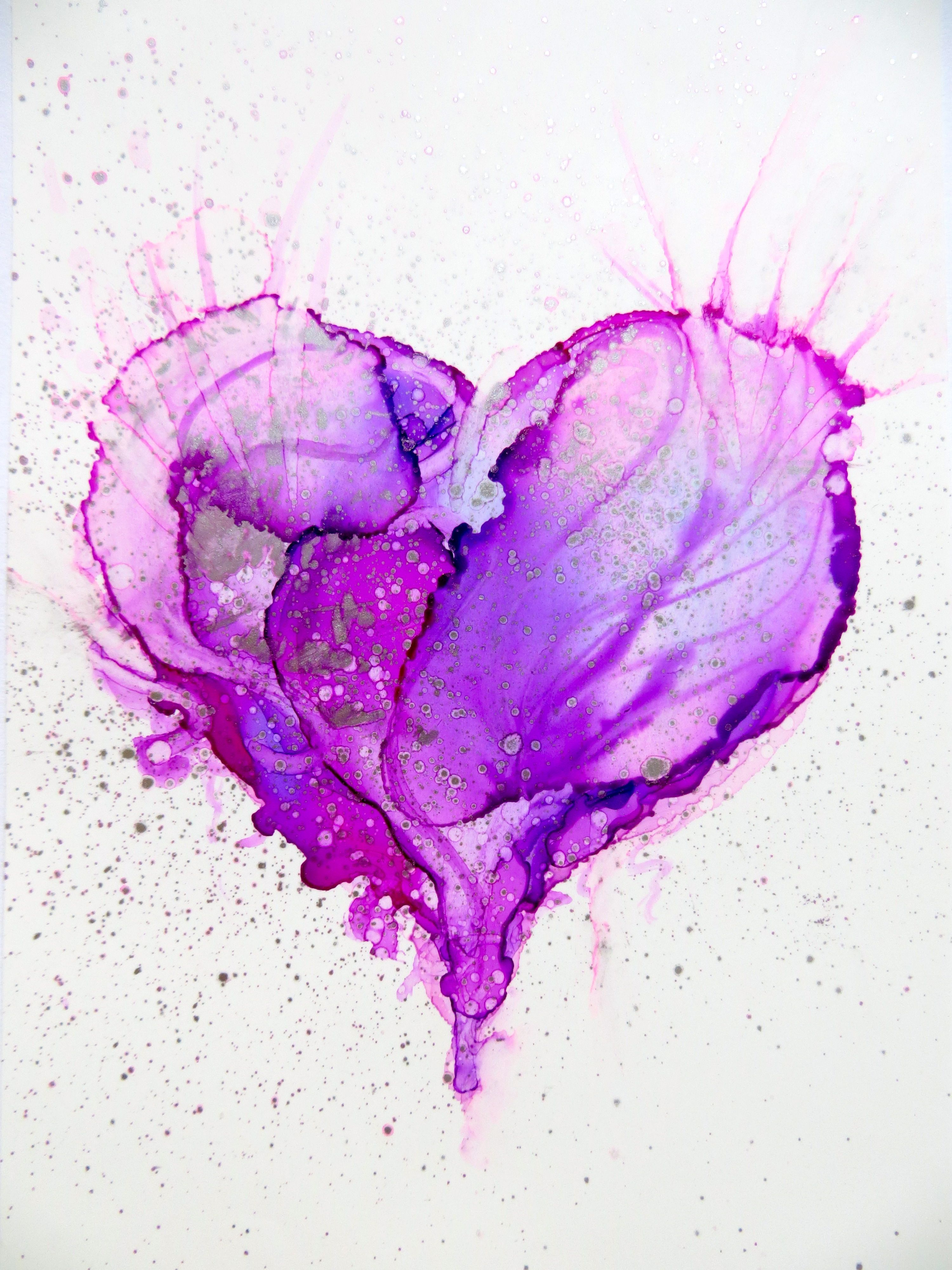 Heart. Alcohol Ink on Yupo Helen Cook Alcohol ink